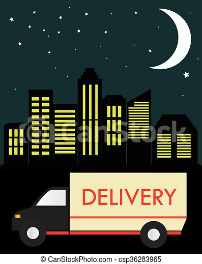 delivery truck on a background of the city at night - csp36283965