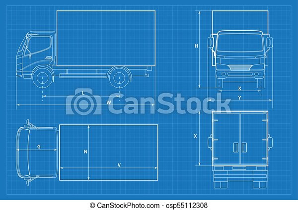 Delivery truck schematic or van car blueprint vector illustration delivery truck schematic or van car blueprint vector illustration truck car in outline business vehicle template vector view front rear side top malvernweather Image collections