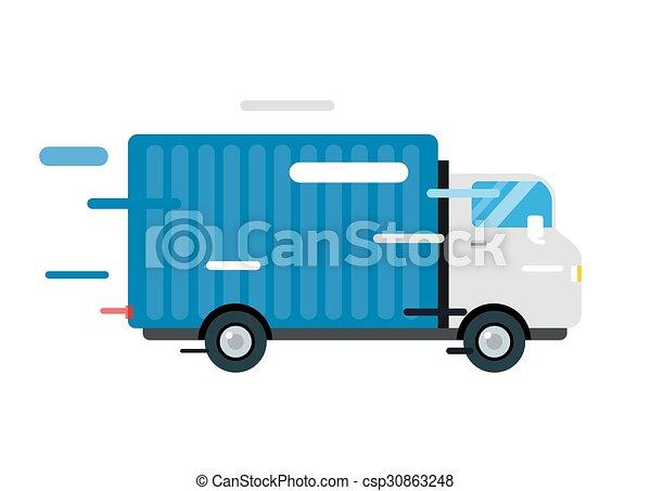 Delivery truck. service van silhouette - csp30863248