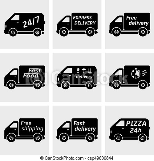 Delivery trucks icons - csp49606844