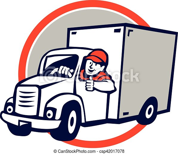 delivery van driver thumbs up circle cartoon. illustration of a