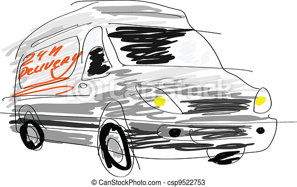 Delivery van sketch isolated on white. - csp9522753
