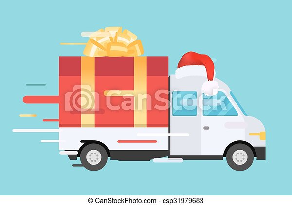 Delivery vector transport truck, van with gift box pack - csp31979683
