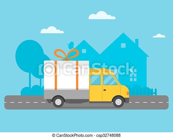 Delivery vector transport truck van christmas gift box bow ribbon delivery vector transport truck van christmas gift box bow ribbon m4hsunfo