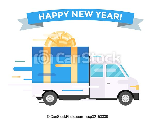 delivery vector transport truck van christmas gift box bow rh canstockphoto com cartoon delivery truck clipart Delivery Truck Icon
