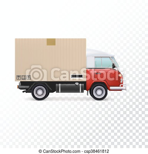 Red and white delivery van with cardboard package and... vector clip ...