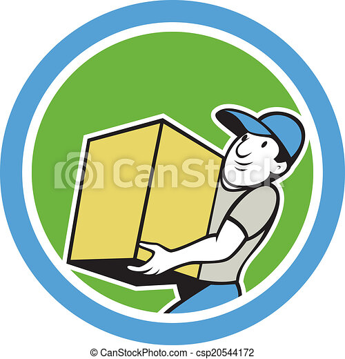 Delivery Worker Carrying Package Cartoon - csp20544172