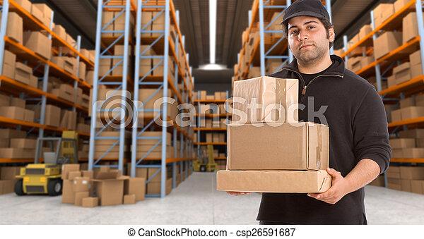 deliveryman at warehouse h - csp26591687