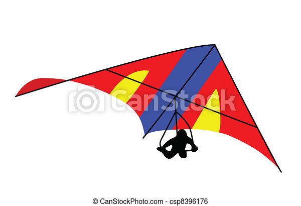 deltaplane on white background, vector illustration - csp8396176