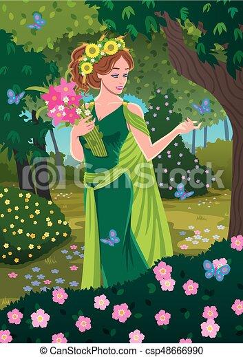 Greek Goddess Demeter Bringing Spring In The Forest