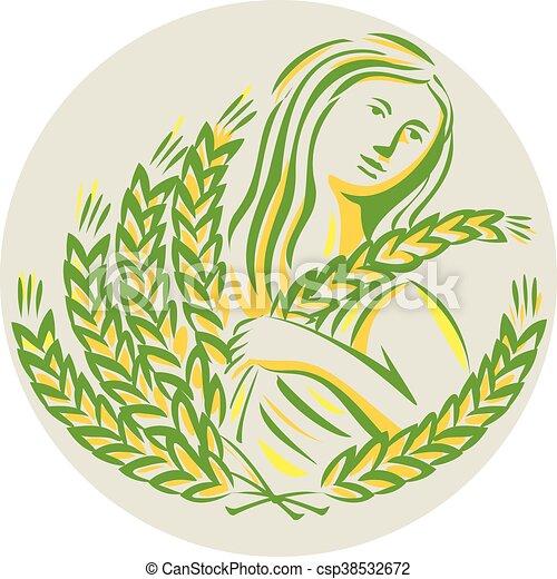Demeter Harvest Wheat Grain Circle Retro Illustration Showing