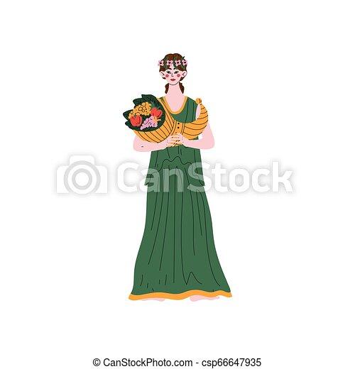 Demetra Olympian Greek Goddess, Ancient Greece Mythology Hero Vector Illustration - csp66647935