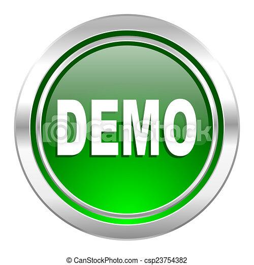 demo icon, green button - csp23754382