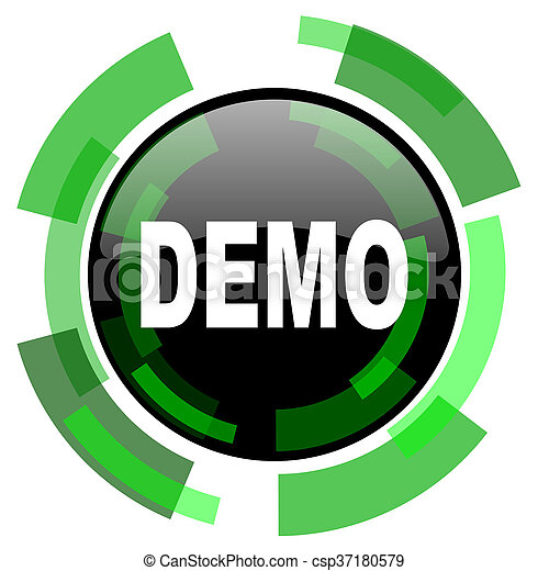 demo icon, green modern design isolated button, web and mobile app design illustration - csp37180579