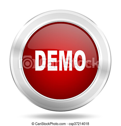 demo icon, red round glossy metallic button, web and mobile app design illustration - csp37214018