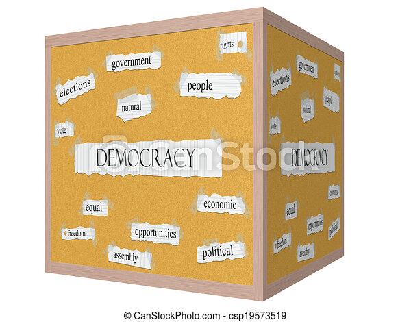 Democracy 3D cube Corkboard Word Concept - csp19573519