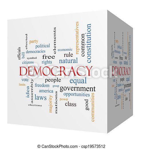 Democracy 3D cube Word Cloud Concept - csp19573512