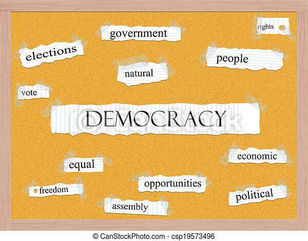 Democracy Corkboard Word Concept - csp19573496