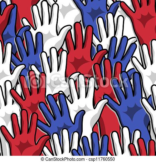 Democracy voting hands up pattern - csp11760550