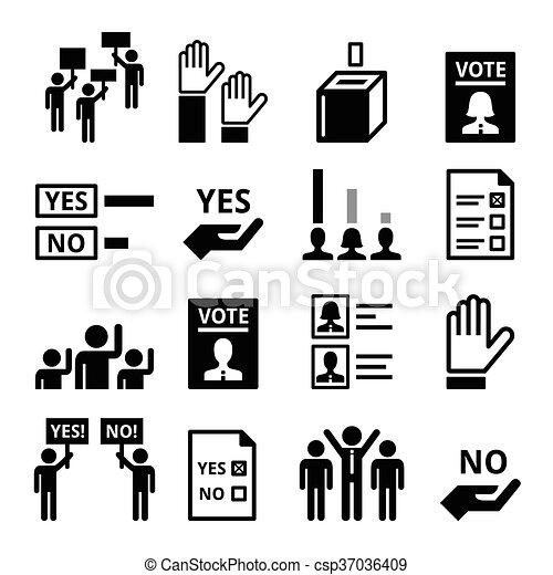 Democracy, voting, politics icons - csp37036409