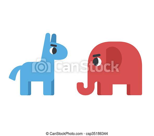 Democrat And Republican Symbols Democrat Donkey Facing Republican