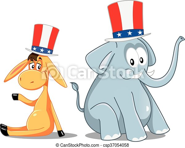 democrat donkey and republican elephant vector election cartoon eps rh canstockphoto com Republican Elephant Vector Transparent gop elephant vector