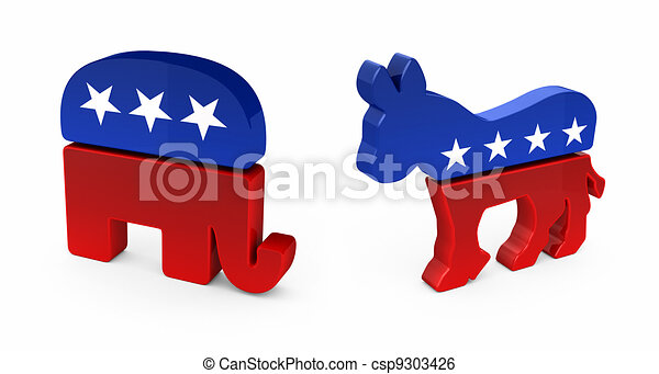 democrat donkey and republican elephant in 3d over white background