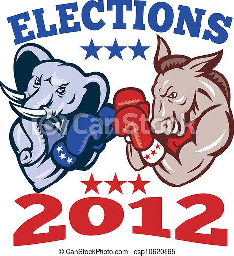 democrat donkey republican elephant mascot illustration of a