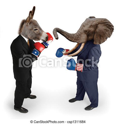 Democrat vs. Republican on white - csp1311684