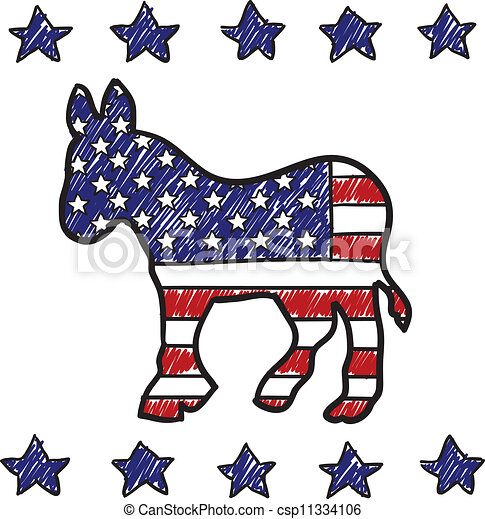 Democratic party donkey sketch - csp11334106