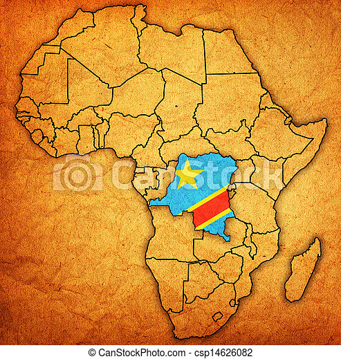 democratic republic of congo on actual map of africa