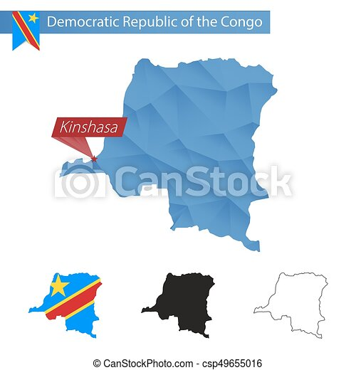 Democratic Republic Of The Congo Blue Low Poly Map With Capital