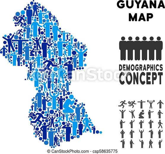 Demographics guyana map. Vector potion guyana map. demography ... on
