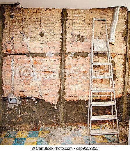 demolition debris in kitchen interior construction - csp9552255