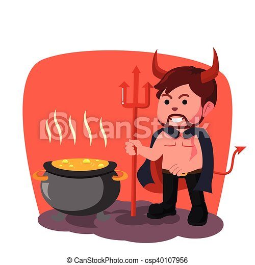demon boiling pot illustration - csp40107956
