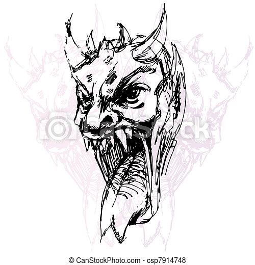 demone, disegno, faccia - csp7914748