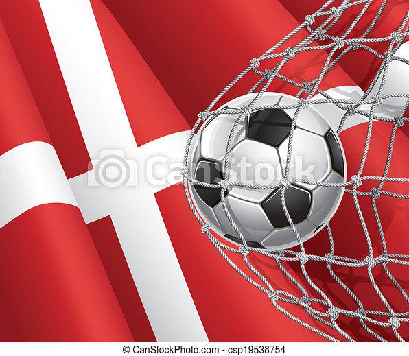 denemarken vlag, bal, voetbal - csp19538754