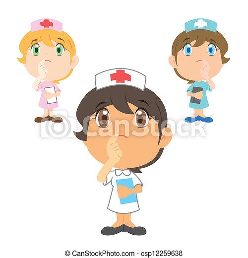 Kartoon-Krankenschwester denkt nach - csp12259638