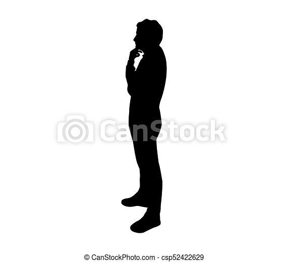denken, silhouette, man - csp52422629