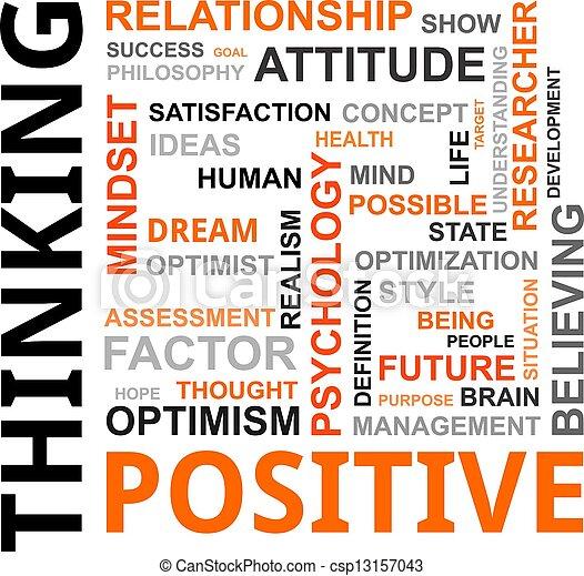 denken, woord, -, wolk, positief - csp13157043