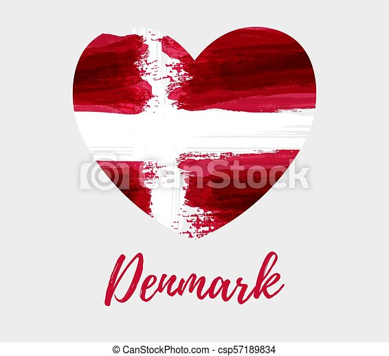 Denmark background with flag heart - csp57189834