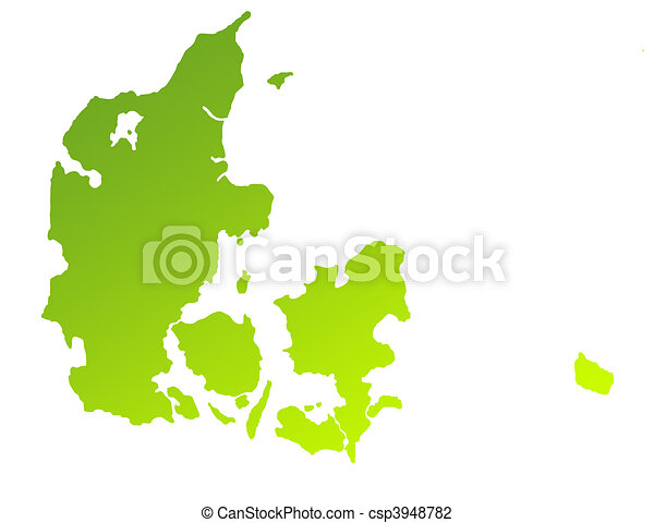 Green gradient map of denmark isolated on a white clip art