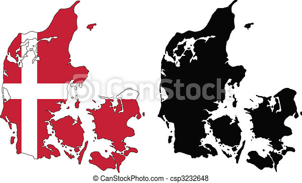Denmark Vector Map And Flag Of Denmark With White Background