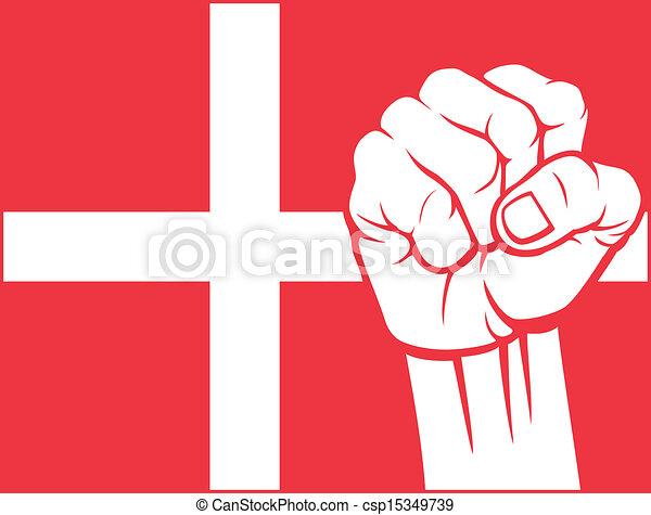 Denmark fist (flag of denmark) - csp15349739