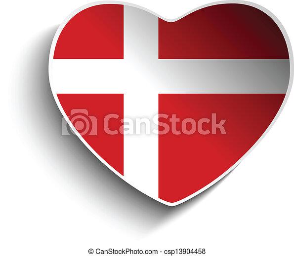 Denmark flag heart paper sticker csp13904458
