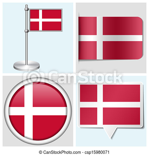 Denmark flag set of various sticker button label and flagstaff csp15980071