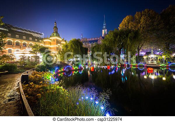 Denmark Lago Copenhague Noche Jardines Tivoli