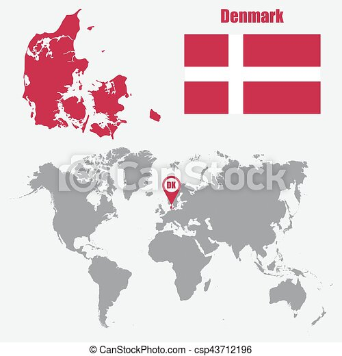 Denmark map on a world map with flag and map pointer. vector ...