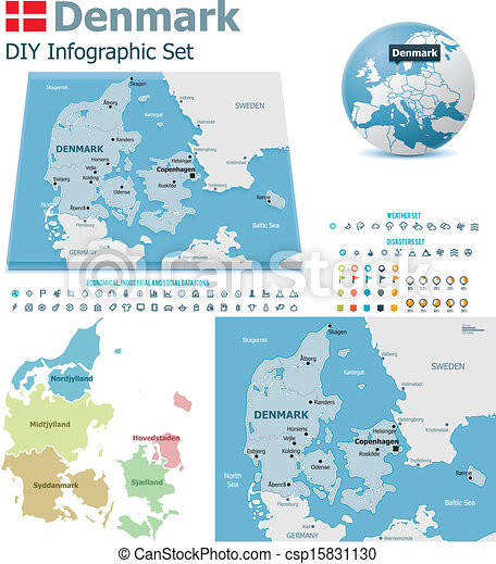Denmark maps with markers - csp15831130