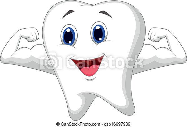 dent, dessin animé, fort - csp16697939